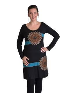 Krátke šaty s dlhým rukávom, čierne, potlač Mandal