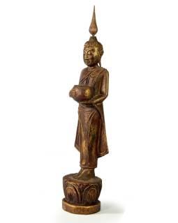 Narodeninový Budha, streda, teak, hnedá patina, 35cm