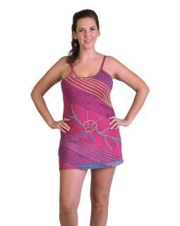 Krátke ružové šaty na ramienka, aplikácie a farebná výšivka