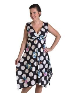 """Trojštvrťové čierne šaty s potlačou, na ramienka, """"Dots & Flower"""" print"""