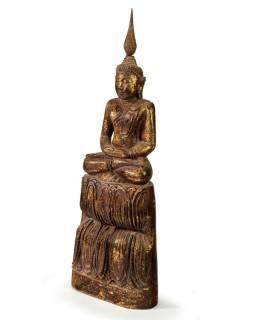 Narodeninový Budha, štvrtok, teak, hnedá patina, 35cm