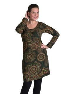Krátke šaty s dlhým rukávom, tmavo zelené, potlač Mandal