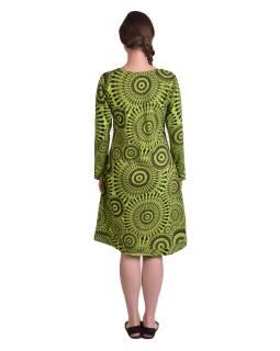 Krátke šaty s dlhým rukávom, zelenej, potlač Mandal