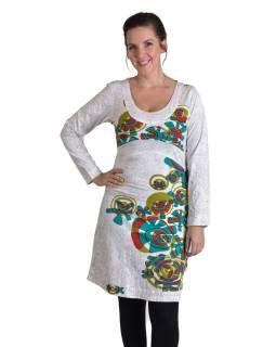 Biele šaty s dlhým rukávom, farebná potlač