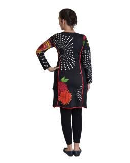 Krátke šaty s dlhým rukávom, čierne, Mandala potlač, vrecká