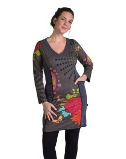 Krátke šaty s dlhým rukávom, šedej, Mandala potlač, vrecká