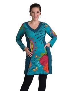 Krátke šaty s dlhým rukávom, tyrkysové, Mandala potlač, vrecká