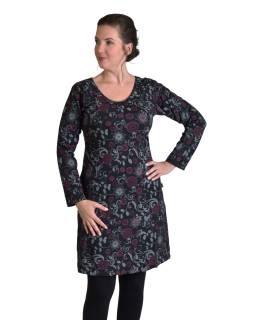 Krátke šaty s dlhým rukávom, čierne, drobný potlač, okrúhly výstrih