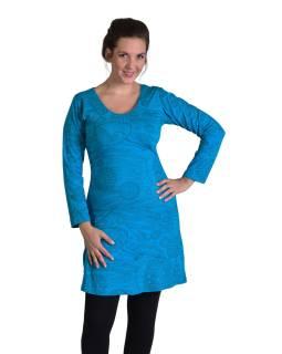 Krátke šaty s dlhým rukávom, tyrkysové, drobný potlač, okrúhly výstrih