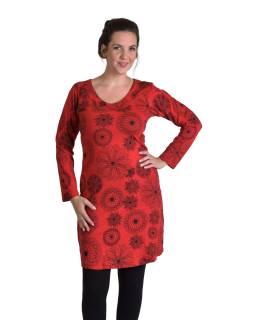 Krátke šaty s dlhým rukávom, červené, drobný potlač, okrúhly výstrih