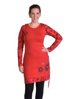 Krátke šaty s kapucňou, červenej, dlhý rukáv, potlač mandál