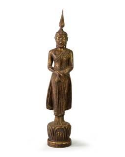 Narodeninový Budha, nedeľa, teak, hnedá patina, 35cm
