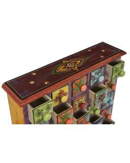 Drevená skrinka s 25 keramickými šuplíky, ručne maľovaná, 38x9x39cm