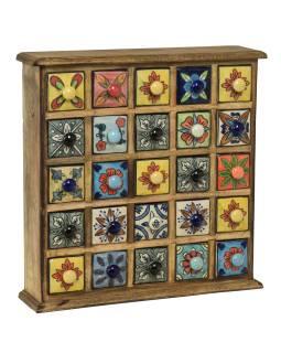 Drevená skrinka s 25 keramickými šuplíky, ručne maľovaná, 38x9x38cm