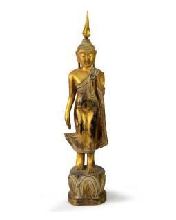 Narodeninový Budha, pondelok, teak, zlatá patina, 35cm