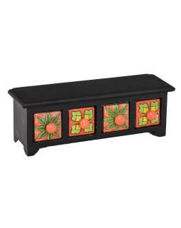 Drevená skrinka so 4 keramickými zásuvkami, ručne maľované, 32x10x11cm