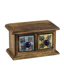Drevená skrinka 17x9x10cm s 2 keramickými šuplíky, ručne maľované