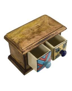 Skrinka drevená s 2 keramickými šuplíky, ručne maľované, 17x9x10cm