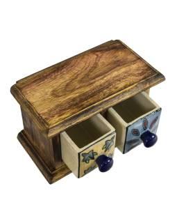 Drevená skrinka s 2 ručne maľovanými keramickými šuplíky, 17x9x10cm