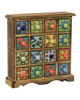 Drevená skrinka s 16 keramickými šuplíky, ručne maľované, 31x10x32cm