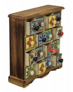 Drevená skrinka 31x10x32cm s 16 keramickými šuplíky, ručne maľované