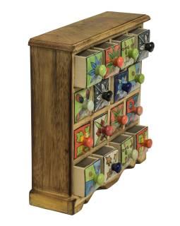 Skrinka drevená s 16 keramickými šuplíky, ručne maľované, 31x10x32cm
