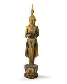 Narodeninový Budha, streda, teak, zlatá patina, 35cm