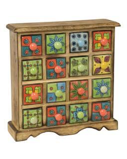 Drevená skrinka s 16 ručne maľovanými keramickými šuplíky, 31x10x32cm