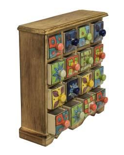 Drevená skřínečka s 16 keramickými šuplíky, ručne maľované, 31x10x32cm