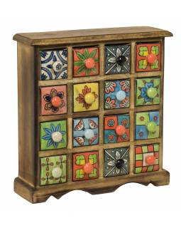 Drevená skrinka s 16 keramickými šuplíky, maľované ručne, 31x10x32cm