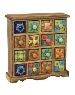 Drevená skrinka s 16 farebnými keramickými šuplíky, ručne maľované, 31x10x32cm
