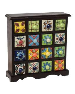 Drevená skrinka s 16 keramickými šuplíky, ručne maľované, tmavé drevo, 31x10x32cm