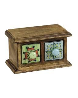 Drevená skrinka s 2 keramickými šuplíky, ručne maľované, 17x9x10cm