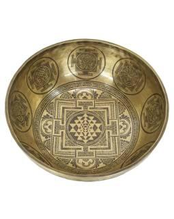 """Tibetská misa, """"GULP"""", gravírovaná s dizajnom, priemer 41cm"""