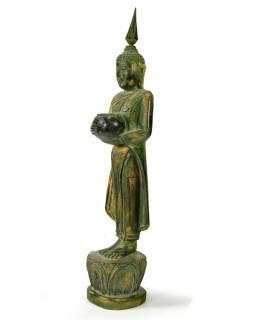 Narodeninový Budha, streda, teak, zelená patina, 35cm