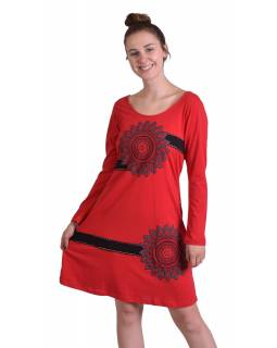 Krátke šaty s dlhým rukávom, červené, potlač Mandal