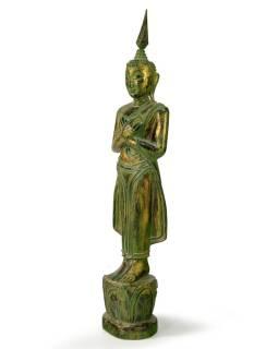 Narodeninový Budha, piatok, teak, zelená patina, 35cm