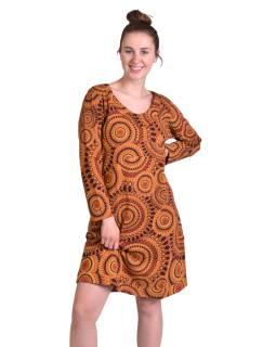 Krátke šaty s dlhým rukávom, hnedé, potlač Mandal