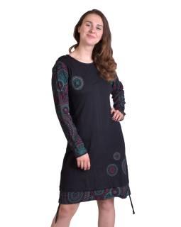 Krátke šaty s kapucňou, čierne, dlhý rukáv, potlač mandál