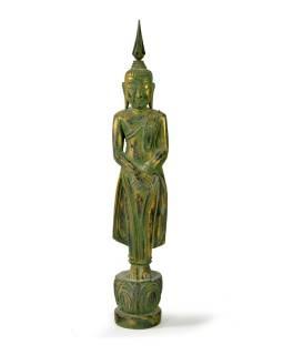 Narodeninový Budha, nedeľa, teak, zelená patina, 35cm