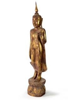 Narodeninový Budha, pondelok, teak, hnedá patina, 50cm