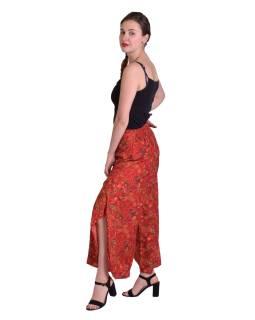Pohodlné voľné nohavice, široké nohavice, červené s paisley potlačou