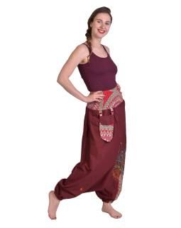 """Vínovej turecké nohavice, """"Tree design"""", farebná výšivka, kapsička, bobbin"""