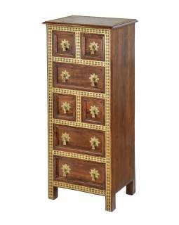 Šuplíková komoda z palisandrového dreva zdobená mosadzou, 45x38x110cm