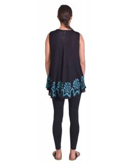 Letný čierno-modrá voľná blúzka, ručné výšivka, bez rukávu