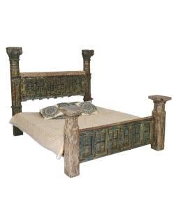 Posteľ vyrobená zo starých vrát a stĺpov, antik teak, 217x237x190cm