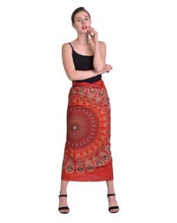 """Sarong s ručným tlačou, červený """"Floral design"""" 110x170cm"""