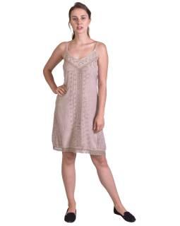 Lehké krátke béžové šaty na ramínka, výšivka, vázání na zádech