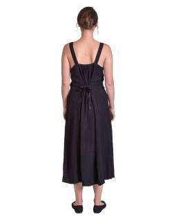 Delší černé letní volné šaty, na ramínka, s výšivkou, vázání na zádech