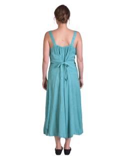 Delší letní volné šaty, tyrkysové, na ramínka, s výšivkou, vázání na zádech